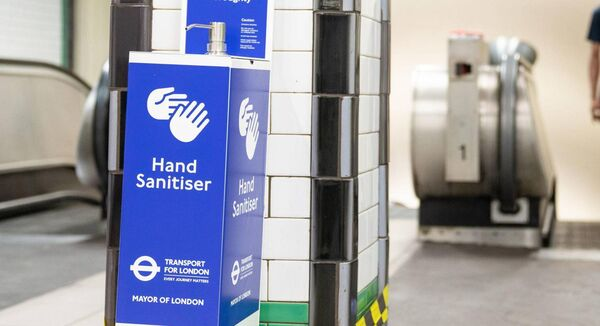 A hand-sanitiser dispenser at Clapham Common underground station, London. Picture: Dominic Lipinski/PA Wire