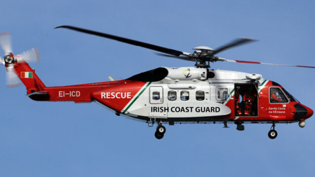 The rescue took place yesterday evening after reports of a child drifting away on an inflatable toy reached a training mission off the coast of Kerry.
