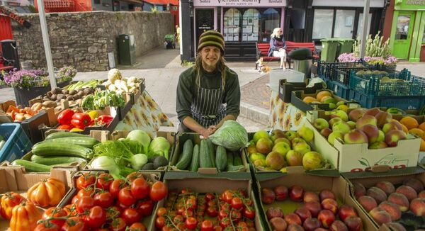Daniel Murphy from the Cottage Garden at the Farmers Market in Kinsale which opened up again on Wednesday. Picture Dan Linehan