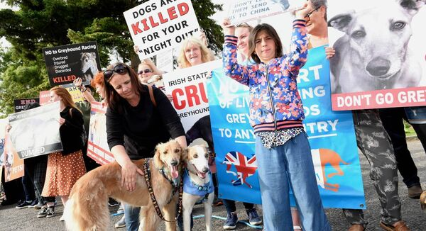 The protest at Curraheen Greyhound Stadium Cork, organised by Greyhound Awareness Cork, was attended by over 200 people and included actress and author Pauline McLynn. Attending the event were members of Dog Action Welfare Group (DAWG). Pic; Larry Cummins