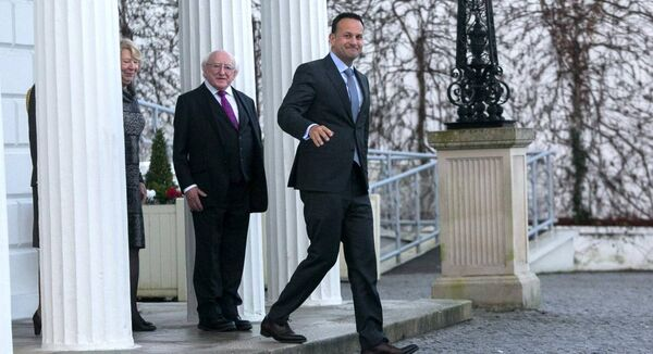 President Michael D Higgins with Leo Varadkar TD at Aras an Uachtarain on January 14 2020, requesting in accordance with Article 13 of the Constitution, that President Michael D. Higgins dissolve the 32nd Dáil. Pic Gareth Chaney / Collins Photos