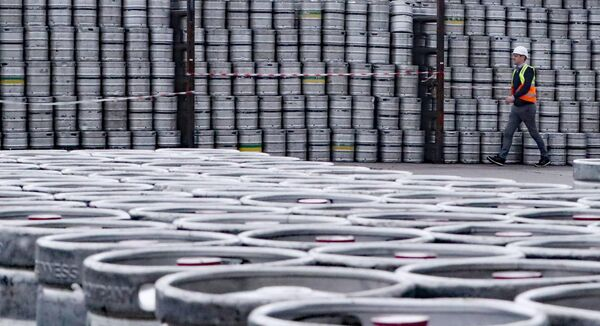 Logistics Manager Colin Griffey with kegs of Guinness stacked ready for distribution at the St James's Gate Guinness brewery in Dublin as production ramps up in preparation for bars re-opening Niall Carson/PA Wire