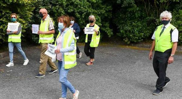 Members of the Magazine Road and surrounding area residents representative group recently held a vigil at Birchley on Model Farm Road in relation to disturbances in their area.  Picture: David Keane