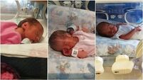 Dad of rare triplets only sees babies from hospital window