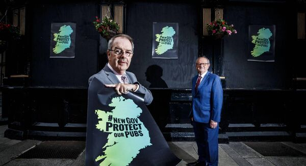 From left, Padraig Cribben, chief executive, VFI, with Padraig McGann, president VFI and owner of McGann's Bar, Monivea, Co Galway, at the launch of the 'Protect our Pubs' campaign today. Picture: Andres Poveda