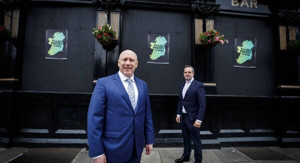 From left, Donall O'Keeffe, CEO, LVA with Ronan Lynch, chairman of the LVA and owner of The Swan Bar at the launch of the 'Protect our Pubs' campaign. Picture: Andres Poveda
