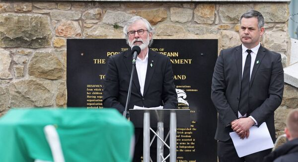 Former Sinn Féin president Gerry Adams is suing the BBC claiming it defamed him when it falsely alleged he had sanctioned the killing of former SF official Denis Donaldson who worked for decades as a spy for the British. Picture: Liam McBurney/PA
