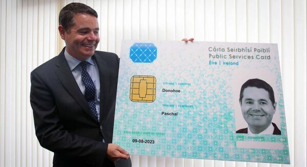 File image of Paschal Donohoe after registering for a Public Services Card in 2016. Picture: Gareth Chaney Collins