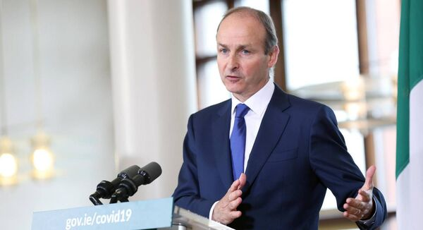 Taoiseach Micheal Martin during a media briefing following the first cabinet meeting at Dublin Castle. Picture: Julien Behal