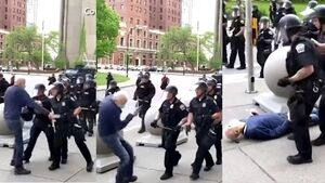 Video shows US police officers pushing protester, 75, leaving him in hospital