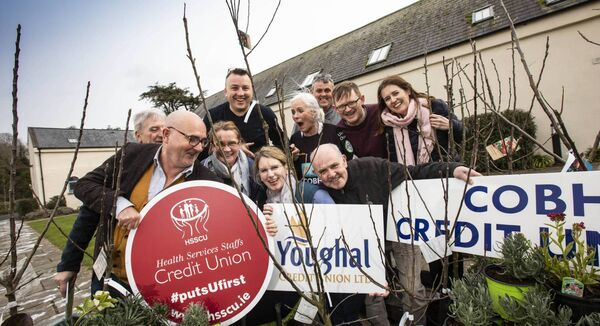 From left, Bill Ramsell; Ardmore Tidy Towns, Alan Duff; HSSCU.ie, Julia Blanke; Youghal Tidy Towns, Proinsias O Tuama; East Cork Biodiversity Networking Programme, Valerie Gliffe; Youghal Tidy Towns, Michael Carlin; Cobh Credit Union, Ruth Ring and Hendrick Verwey; Cobh Tidy Towns, Cormac de Frin; Pobalscoil na Tríde and Janette Kenny; Cork County Council. 6,900 native broadleaf trees and 100 Apple trees will be planted across East Cork. Picture: Cathal Noonan