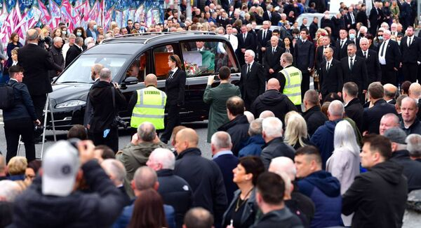 The funeral of veteran IRA mastermind Bobby Storey on the Andersonstown Road in west Belfast. He died in England after an unsuccessful lung transplant operation. Photo: Alan Lewis