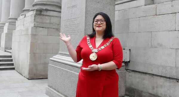 Lord Mayor of Dublin Hazel Chu at The O'Connell Plinth outside Dublin's City Hall. Picture: Leah Farrell / RollingNews.ie