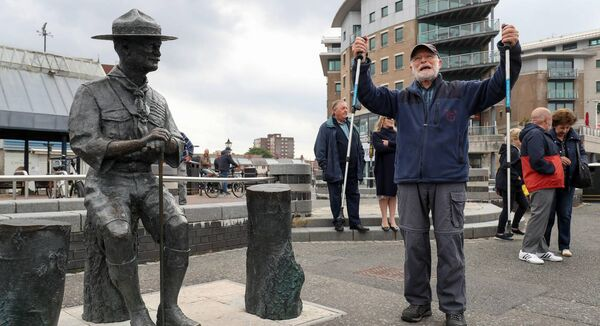 Len Banister shows his support for the statue today. Pic: Andrew Matthews/PA