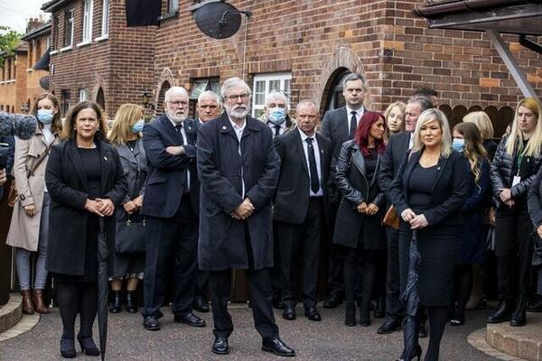 Sinn Féin leader Mary Lou McDonald, left to right, former Sinn Féin leader Gerry Adams, and Deputy First Minister Michelle O'Neill attending the funeral in west Belfast (Liam McBurney/PA)