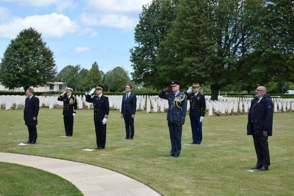 The ceremony at the Bayeux Cemetery in Normandy (Prefecture du Calvados-BV/PA)