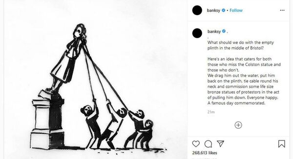 A drawing taken from the Instagram page of @Banksy/Instagram of his suggestion for the replacement of the statue of Edward Colston which was pulled from its plinth and thrown into Bristol harbour during a Black Lives Matter rally. Pic: PA