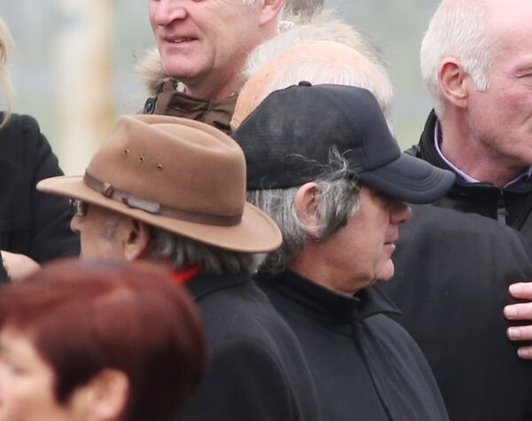 Mourners and relatives at the funeral of gangland murder victim Eddie Hutch at the Our Lady of Lourdes Church on Sean McDermott Street Dublin.
