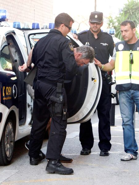 Chris Kinahan is led into court in Estepona in 2010 to face charges of drug smuggling,arms dealing and links to over 20 murders.