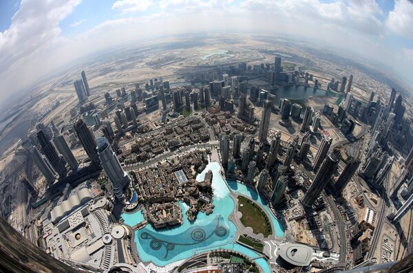 A picture taken with a fisheye lens shows areas close to the world's tallest building Burj Khalifa as seen from the the new highest lounge in the world at Burj Khalifa in Dubai, United Arab Emirates. Pic: Ali Haider.