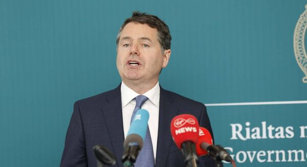The Minister for Finance and Public Expenditure and Reform, Paschal Donohoe TD outlined the End May 2020 Exchequer figures in the Whitaker Room, Department of Finance, Government Buildings, Dublin 2. Photo Leon Farrell/Photocall Ireland