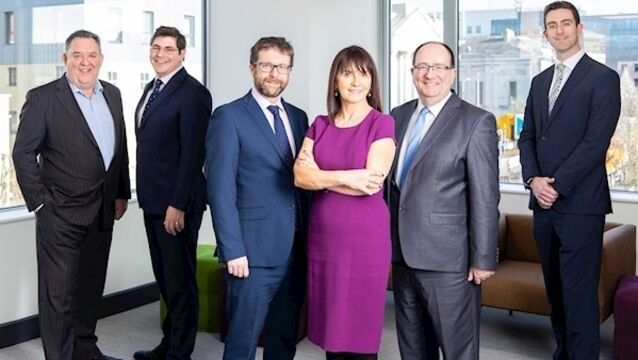 Brendan O'Regan, ex-CEO of Zenith Technologies; Adam Griffiths, ReganWall; Adrian Wall, ReganWall; Daire Coffey, founder of Perspectives; Brendan Lenihan, MD of Navigo; Kieran Regan, ReganWall; pictured before lockdown restrictions at ReganWall's offices in South Mall, Cork.