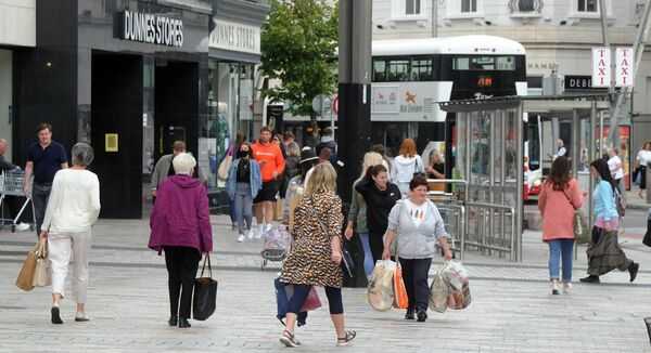 """Where businesses are open, spend is up."" Pedestrians on St. Patrick's Street in Cork. Picture Denis Minihane."