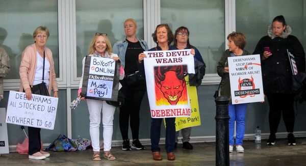 Debenhams protesters at a Dáil sitting at the Convention Centre last week. Picture: Gareth Chaney/Collins