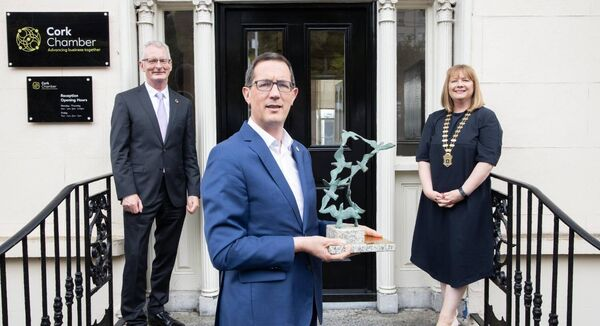 Ian Talbot CEO of Chambers Ireland, Conor Healy, CEO Cork Chamber and Paula Cogan, President of Cork Chamber at the presentation of the Chamber of Year Award. Picture Darragh Kane