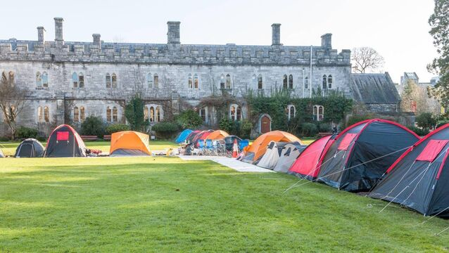 Cork City, Cork, Ireland. 05th March, 2020. Students from University College Cork have erected tents on the College Quad in protest at the Universities decision to increase rents for a third time in recent years. Picture; David Creedon / Anzenberger