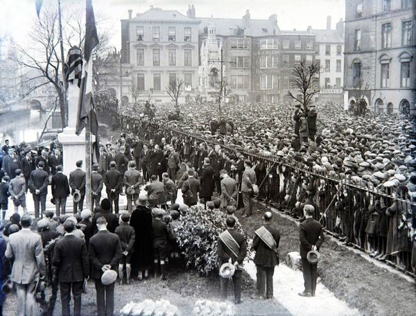 Thousands turn out for the unveiling of the War Memorial in Cork on the South Mall on March 17, 1925.