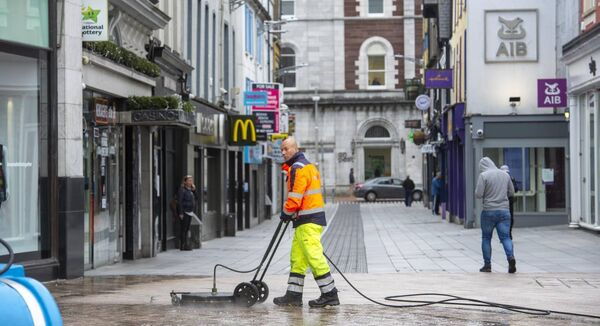 Footpath cleaning taking place on Patrick Street, Cork. Picture Dan Linehan