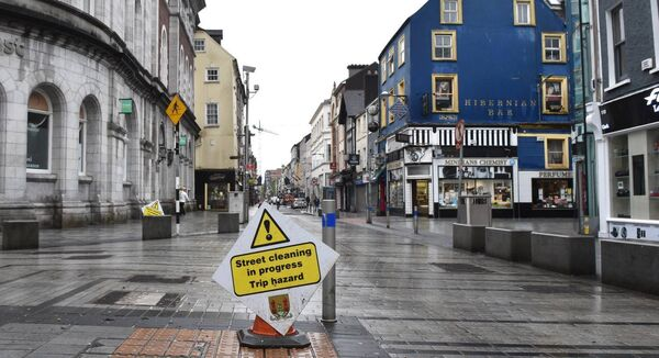 Street cleaning in progress at Oliver Plunkett Street, Cork. Picture Dan Linehan