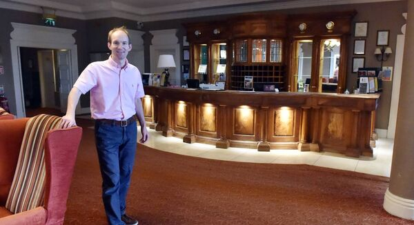 Neil Grant, general manager, in the empty foyer of the Celtic Ross Hotel, Rosscarbery, West Cork. He wonders if the after-meal wedding band become a thing of the past. Picture: Eddie O'Hare