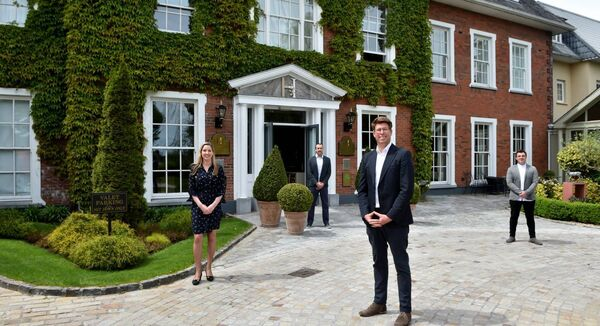 Ettenne Van Vrede, CEO, of the Hayfield Collection of hotels pictured with karen Fleming, Sales Director, Evander Brennan, Deputy General Manager and John Birthell, Conference and Banqueting Manager at the Hayfield Manor Hotel, Cork. Picture Dan Linehan
