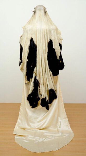 The Virgin Shroud includes a real cow skin and Cross's grandmother's wedding dress. Picture: Tate London