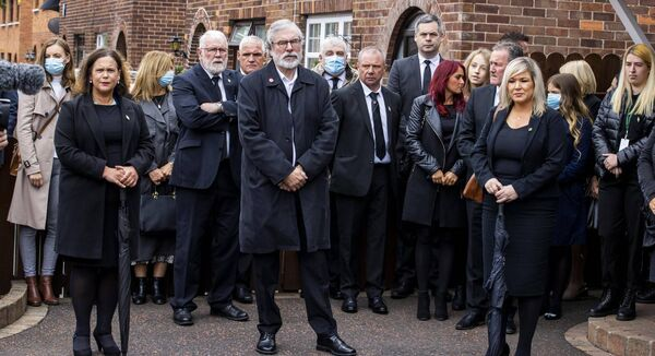 Sinn Fein leader Mary Lou McDonald, former Sinn Fein leader Gerry Adams, and Deputy First Minister Michelle O'Neill attending the funeral of senior Irish Republican and former leading IRA figure Bobby Storey in west Belfast.