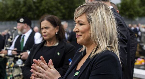 Deputy First Minister Michelle O'Neill during the funeral of senior Bobby Storey at Milltown Cemetery in west Belfast. O'Neill faces calls to resign after she and party colleagues attended the funeral on Tuesday.