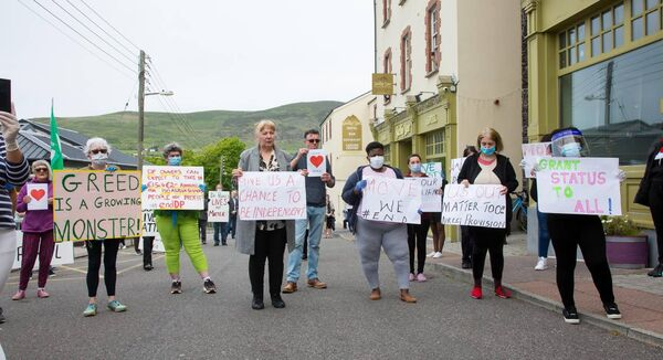 Locals and residents of the Skellig Star direct provision centre protesting about the hotel in Caherciveen, Co Kerry, earlier this year. Picture: Alan Landers.