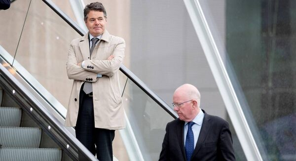 Paschal Donohoe, Fine Gael and Charlie Flanagan, Fine Gael leaving the Convention Centre. Picture: Maxwells