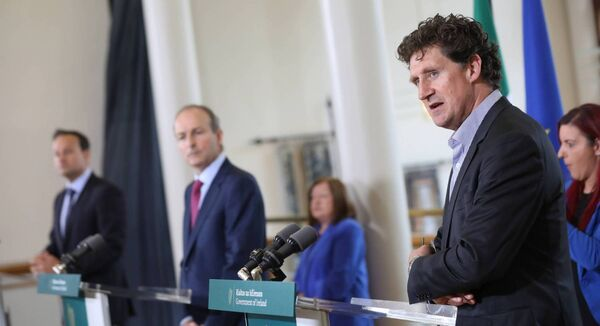 Minister Eamon Ryan with the new Tánaiste Leo Varadkar and Taoiseach Micheál Martin. Ryan is the husband of Irish Examiner columnist Victoria White.	Picture: Julien Behal