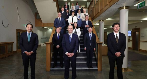 The newly elected Cabinet of the 33rd Dáil meet for their first cabinet meeting in Dublin Castle on Saturday — but not in the traditional Cabinet room.  Picture: Julien Behal/PA