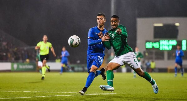 The Republic of Ireland's Adam Idah in action against Enrico Del Prato of Italy at Tallaght Stadium. The sides drew 0-0 last October. Photo by Eóin Noonan/Sportsfile