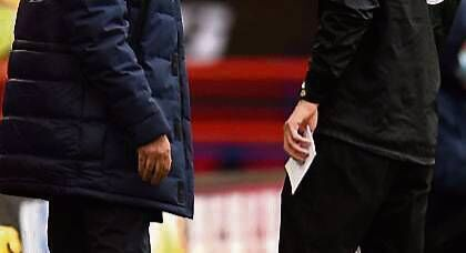 Tottenham Hotspur manager Jose Mourinho (left) reacts after his side's goal is ruled out by VAR during the Premier League match at Bramall Lane, Sheffield. PA Photo.