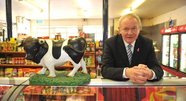The late Martin McGuinness, at the meat counter at Siopa De Róiste, Ballyvourney, Co Cork. Picture: Dan Linehan.
