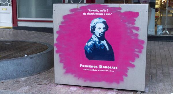 A mural by Kevin O'Brien on the streets of Cork City pays tribute to abolitionist campaigner Frederick Douglass.