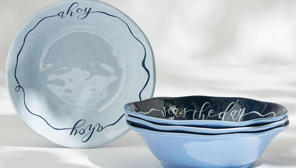The Nautical pasta bowl is an alternative to plates if you're dining casually, and comes in a set of four (€24 at M&S).