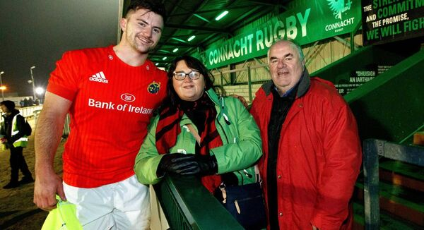 Diarmuid Barron with his family after playing for Munster against Connacht last December. Photo: INPHO/James Crombie