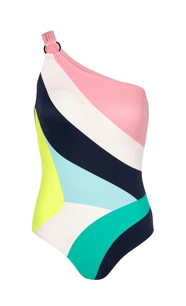 M&S Collection tummy control striped one-shoulder swimsuit, M&S, €40