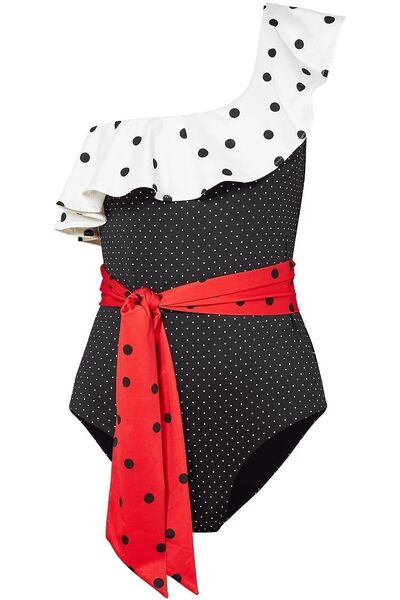 Ganni one-shoulder ruffled polka-dot swimsuit, The Outnet, was €189; now €109